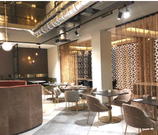 Interior of Leicester's newest hotels & restaurant