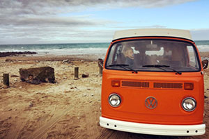 Yescapa - a classic VW motorhome on the beach