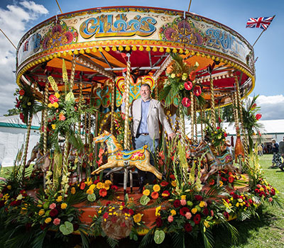 Mig Kimpton with Floral Carousel at Blenheim - flower shows