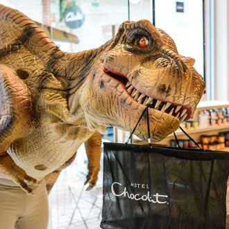 Daphne the Dinosaur looking for her missing eggs at Clarks Village