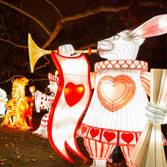 Alice In Winterland at Lightwater Valley - White Rabbit light
